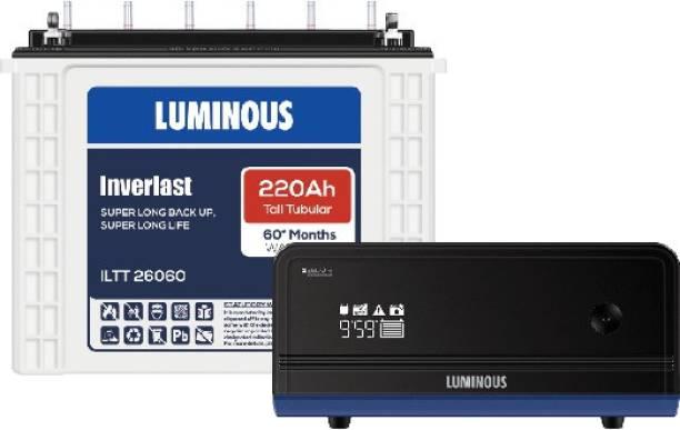 LUMINOUS Inverlast ILTT26060 220Ah Tall Tubular Battery With Zelio+1100 Pure Sine Wave Inverter Tubular Inverter Battery