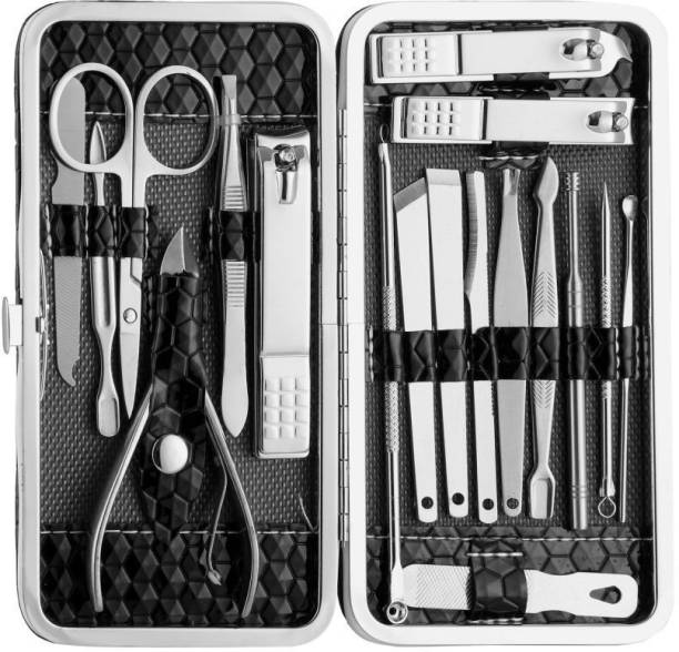 GLOW IT 18 in 1 Stainless Steel Manicure Pedicure Set Nail Cutter Scissors Care Set Tweezers Knife Ear Pick Eyebrow Scissors Utility Tools Grooming Kits with Leather Case (18, Set of 18)