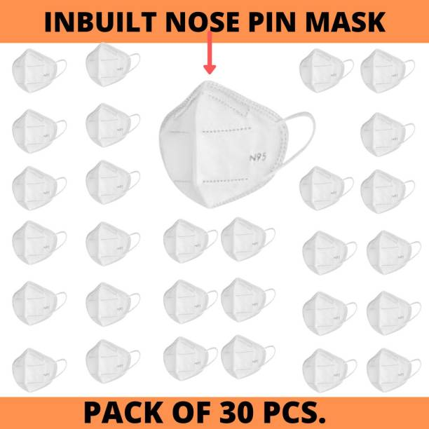 LOIS CARON FM-96 N95 MASK WITH METALLIC NOSE PIN REUSABLE ANTI-POLLUTION , ANTI-VIRUS BREATHABLE FACE MASK N95 WASHABLE ( WHITE) FOR MEN , WOMEN AND KIDS MASK , REUSABLE Reusable Cloth Mask With Melt Blown Fabric Layer