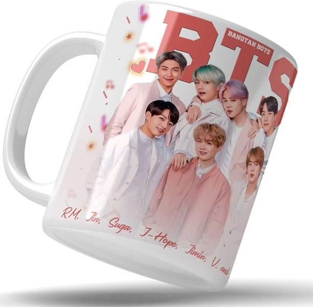 TGC THE GIFT COMPANY Bangtan boys Bts group mug|white mug | gift for mug | coffee and tea mug | creative design printed mug Ceramic Coffee Mug
