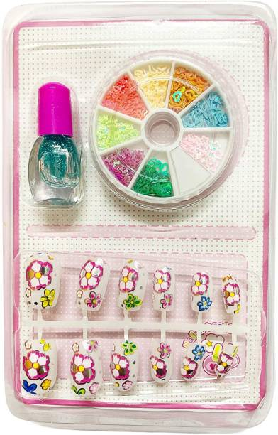 BVM GROUP Pack of 1 Nail Art Kit with 12 Artificial Nails with Tools and Glitters Home Salon Birthday Gift for Girls Little Girls, Kids