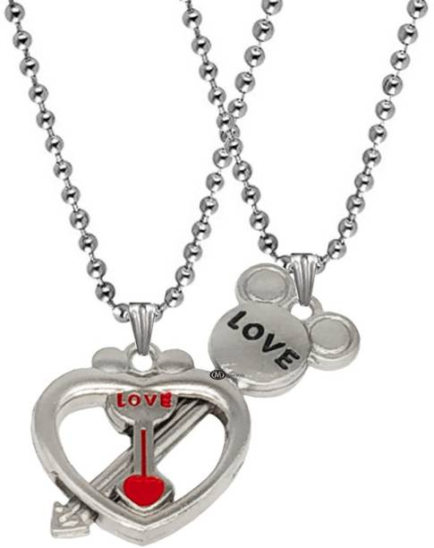 M Men Style Valentine Gift Love You Heart And Key Engraved Dual Locket Pendant Necklace Chain Unisex Jewellery 1 Pair For His And Her For Couple Husband Wife Boyfriend Girlfriend Boys Girls Rhodium Zinc, Metal Pendant Set