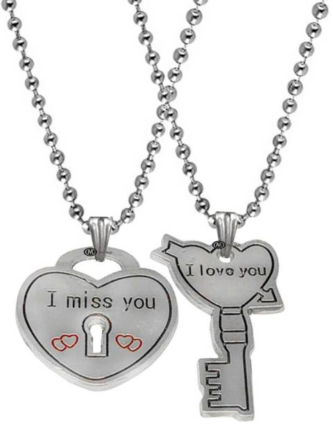 M Men Style Valentine Gift I Miss You I Love You Couple Heart And Key Couple Engraved Dual Locket Pendant Necklace Chain Unisex Jewellery 1 Pair For His And Her For Couple Husband Wife Boyfriend Girlfriend Boys Girls Rhodium Zinc, Metal Pendant Set