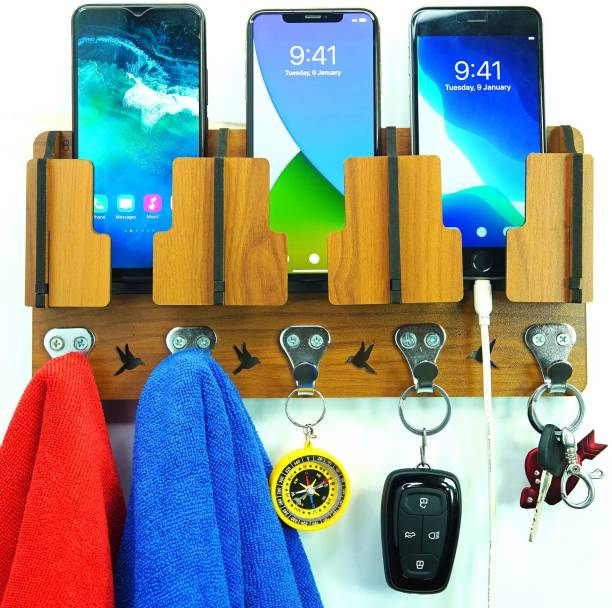 US DZIRE 808 Craft 3 Mobile Charging Stand For Home & Office Living Room Side Decorative Multi Use Wooden Wall Shelf