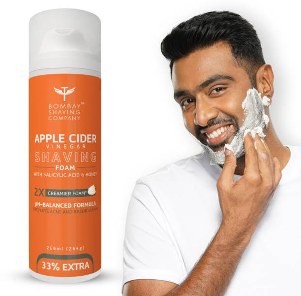 BOMBAY SHAVING COMPANY Apple Cider Vinegar Shaving Foam, 226 ml (33% Extra) with Apple Cider Vinegar & Salicylic Acid