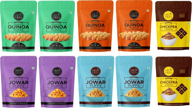 Heka Bites Roasted Snacks Box (Pack of 10) |Quinoa Puffs, Jowar Puffs, Chickpea Crisps|Healthy Snacks|Made with Superfoods|No Added Sugar|High Protein and Fibre|Cholesterol Free| Gluten Free