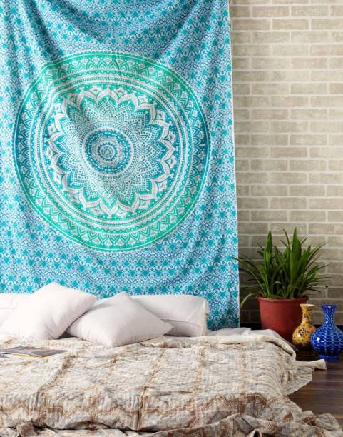 Heyrumbh Handicrafts Hippie Boho Trippy Wall Hanging, Beach Throw, Bedsheet, Table Cover, 54 X 84 Ombre Mandala Wall Hanging, Beach Throw, Bedsheet, Table Cover, 54 X 84 Tapestry