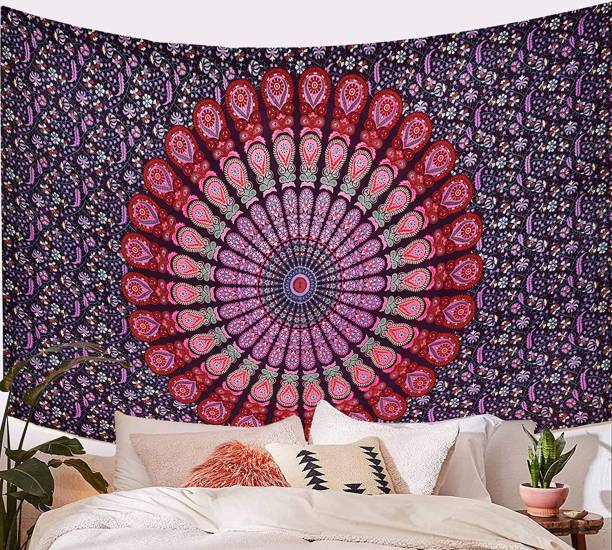 Heyrumbh Handicrafts Hippie Bohemian Wall Hanging, Beach Throw, Bedsheet, Table Cover Peacock Mandala Wall Hanging, Beach Throw, Bedsheet, Table Cover, 54 X 84 Tapestry