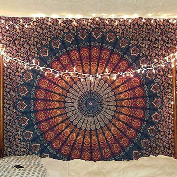 Heyrumbh Handicrafts Hippie Boho Trippy Wall Hanging, Beach Throw, Bedsheet, Table Cover, 54 X 84 Peacock Wing Wall Hanging, Beach Throw, Bedsheet, Table Cover, 54 X 84 Tapestry