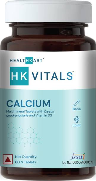 HEALTHKART Calcium Tablets for Men and Women with Vitamin D3 for complete bone health & Joint
