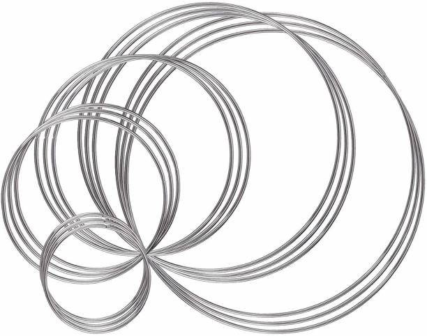 DILNAZ ART Metal Rings Hoops 15 Pieces Steel Craft Silver Rings for Dream Catcher, Macrame and Other DIY Projects in 5 Sizes (2 Inch, 3 Inch, 4 Inch, 5.5 Inch, 6.3 Inch, Silver)