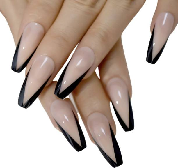 Ray Innovations 24 Pcs Nude Black Press on Fake Nails with Adhesive Glue Beige, Nude, Black