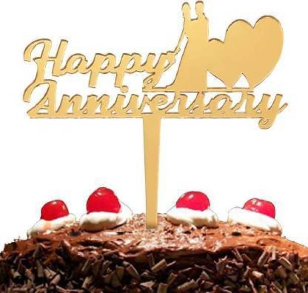 Flipkart SmartBuy Golden Happy Anniversay Cake Topper for Anniversay Decoration/ Happy Anniversay Party Cake Decoration Item / Special Cake Decoration for Wife / Husband Cake Topper