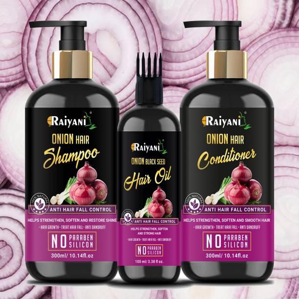 Raiyani Anti Hair Fall Spa Range with Onion Hair Oil(100ml)+ Onion Shampoo(300ml) + Onion Conditioner(300ml) for Hair Fall Control