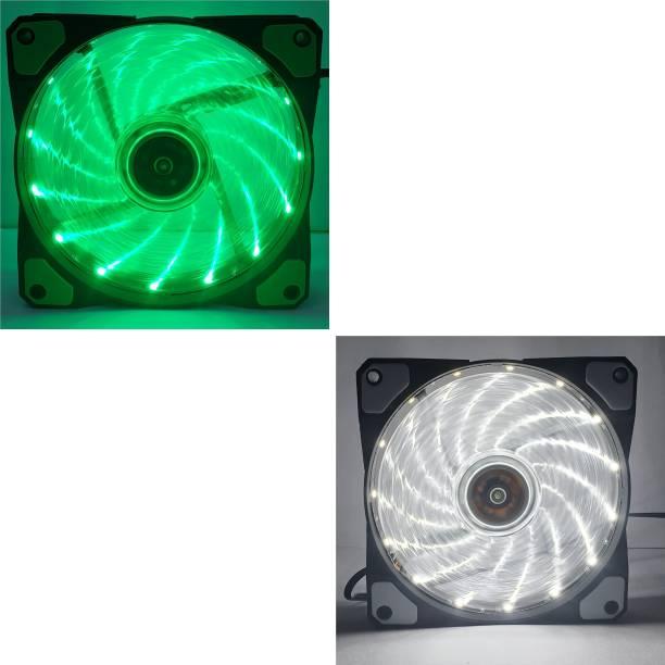 NUBWO NFT-100 GREEN,WHITE COLOR LED FAN 120MM - PACK OF 2 Cooler