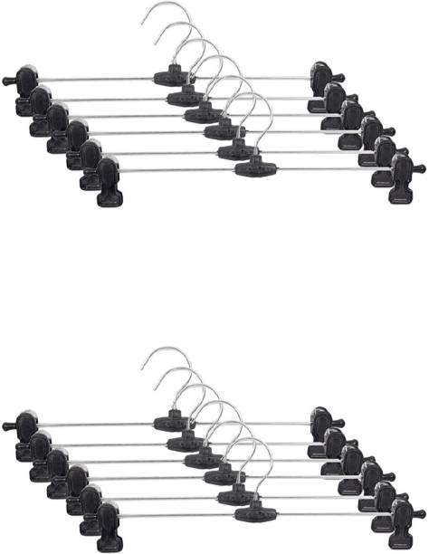 Mahek PP10-CLP-12PC Stainless Steel Hangers| Metal Adjustable Non Slip Clips | Space Saving Swivel Hook | Cloths Pants Skirt Children Shorts Hanger | Slack Jacket Dress Shirt Clothes Scarf Saree Coat Steel Pack of 12 Hangers