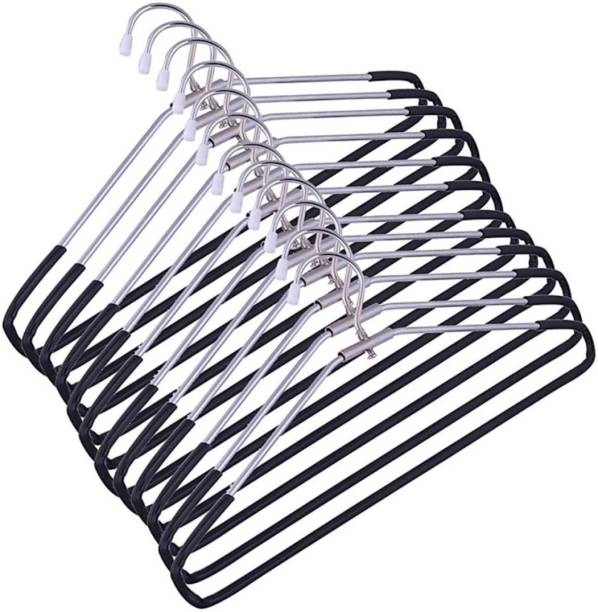 Mahek Strong & Durable Steel With Plastic Cover | Heavy Duty | Cloth Coat Saree Hangers For Wardrobe Steel Pack of 12 Hangers