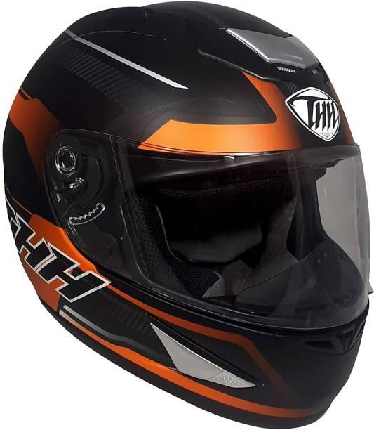 THH HELMETS TS-41 Arcade Single Shield Bike Helmet (Black/Orange, Matt Finish, Large Size) Motorbike Helmet