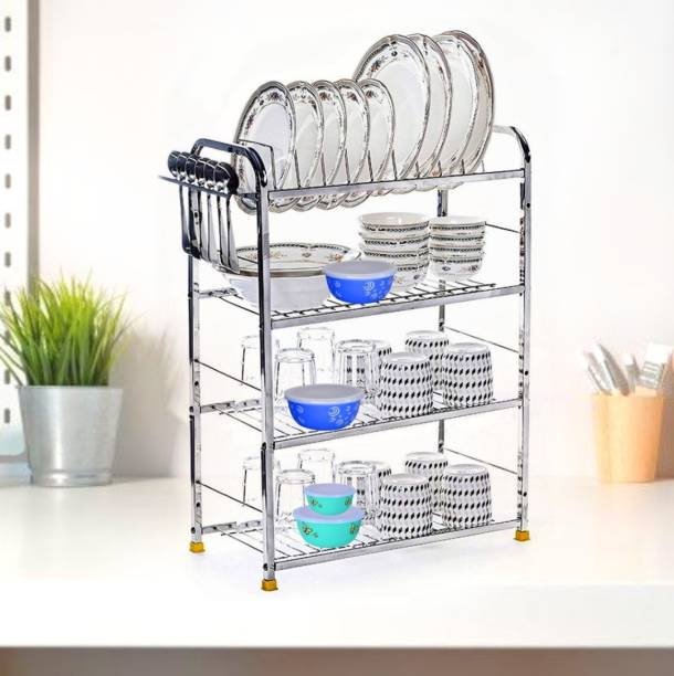 MAGS WAY 4 Shelf Wall Mount Kitchen Utensils Rack Stainless Steel | Dish Rack with Plate & Cutlery Stand | Modular Kitchen Storage Rack |Dish Drainer Kitchen Rack Unique Design | Shelves and Racks Steel | Kitchen Organizer Plate Stand | Plate Kitchen Rack Utensil Kitchen Rack Steel Kitchen Trolley