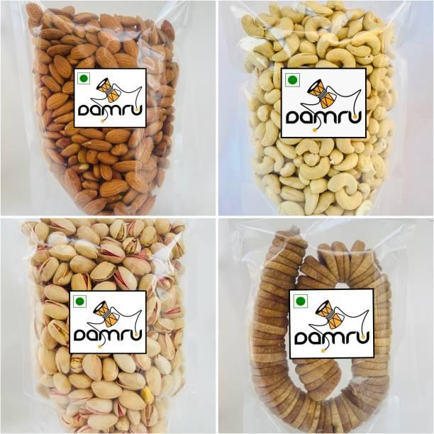 Damru Dry Fruit Combo [Cashews (250g) , Salted Roasted Pistachios (250g) , California Almonds (250g) & Figs (250g) ] (Premium Quality) Pistachios, Cashews, Almonds, Figs