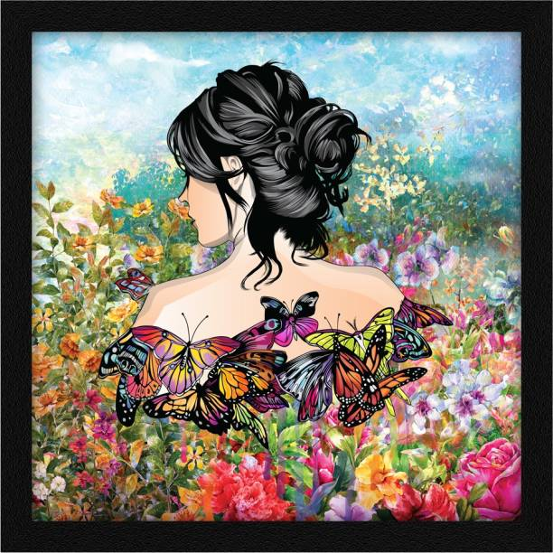ArtX Abstract Women Butterfly Wall Painting Ink 13 inch x 13 inch Painting
