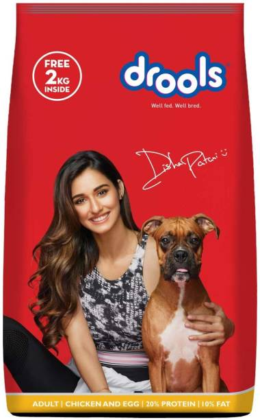 drools 2 kg Dog Food Free with Drools 10 kg Chicken and Egg 12 kg Dry Adult Dog Food