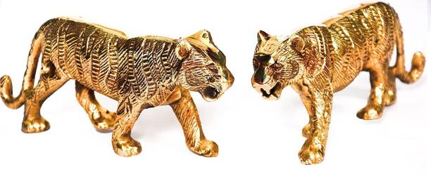 VISION INDIA CO Home Decorative Item Tiger Art Brass Metal Gifts (Pack of 2) Decorative Showpiece  -  14 cm