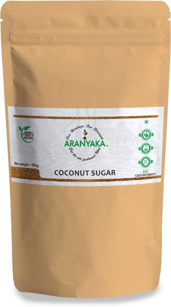 Aranyaka Coconut Palm Sugar/ Coconut Blossoms Sugar (500g ) Premium Coconut Sugar[Made From Pure Coconut blossom nectar] (500g)100% Natural -Zero Preservative -Unrefined Sugar