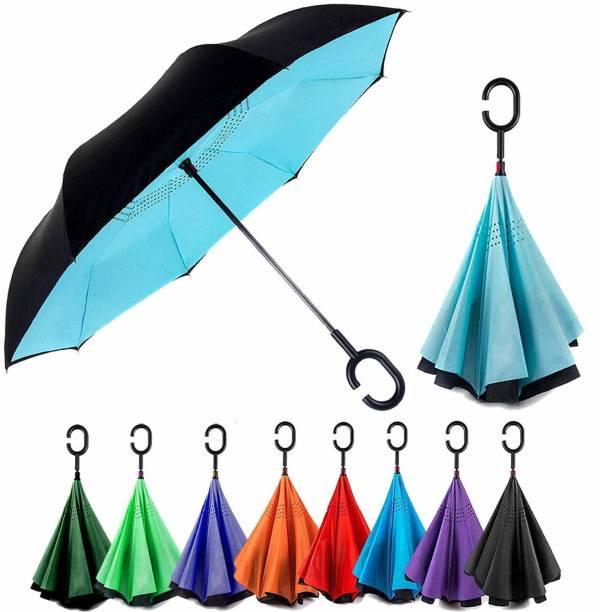promise plus group Double Layer Inverted Colourful Umbrella for Men-Women with C-Shaped Handle Anti UV Protection Waterproof-Windproof Car Rain Outdoor Use Umbrella (Random Colors) (C- Shape Umbrella) (Multi color) Umbrella