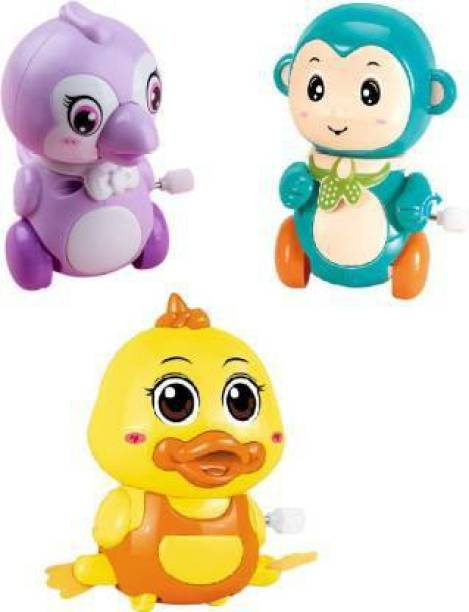 WONDER CREATURES Colorful Funny Key Operated Wind Up Jumping Duck, Monkey, Parrot Toy (Pack of 3) (Multicolor) Rattle