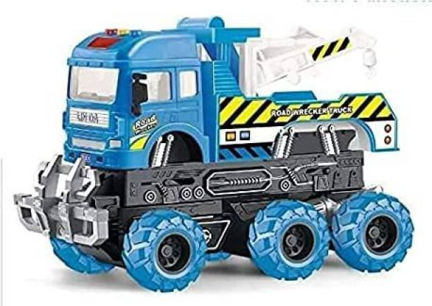 EVURAAJ ENTERPRISE Assembly Toy Farm Big Truck Construction Set, Building Vehicle Play Set with Screwdriver, Green Toy for 3 Year Old Boys, Kids, Girls (6x6 Tow Truck)