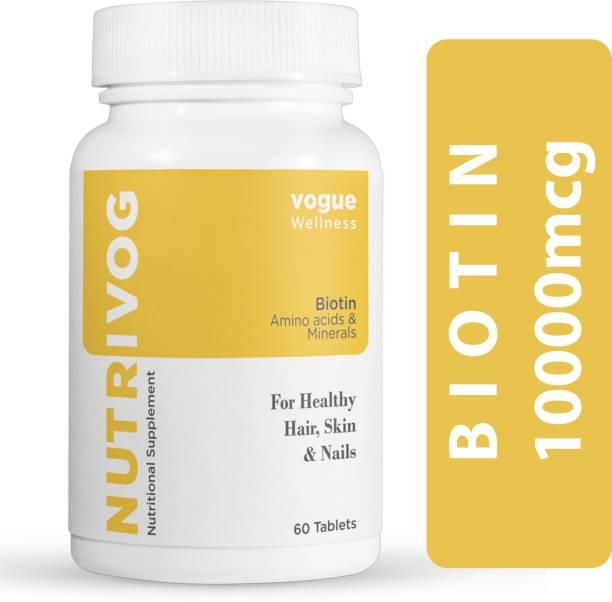 Vogue Wellness NUTRIVOG Biotin & Amino Acid for Hair Growth, Healthy Skin & Strong Nails