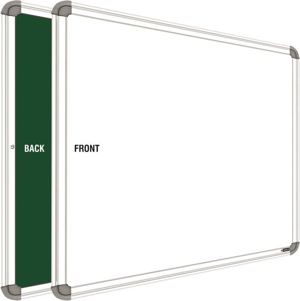 YAJNAS Non Magnetic 1.5 X 2 feet White Board, One Side White Board Marker and Reverse Side Green Chalk Board Surface Whiteboard Whiteboards