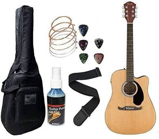 FENDER FA125CE Electric Acoustic Guitar With Sponge Bag, Belt, String Set, & Plectrums Combo Pack (Natural) Semi-acoustic Guitar Mahogany Spruce Right Hand Orientation