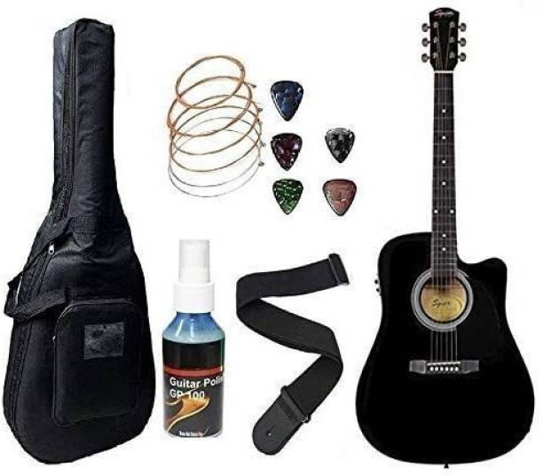 FENDER SA105CE Electric Acoustic Guitar With Sponge Bag, Belt & Plectrums Combo Pack (BK) Semi-acoustic Guitar Rosewood Spruce Right Hand Orientation