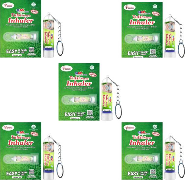 30M Ayurvedic Nasal Inhaler For Cough And Cold Relief | Inhaler Medicine |Aromathearapy Nasal Inhaler | Inhaler with Key Chain | Vaporizer | For Asthma Sinusitis Bronchitis Pack of 5