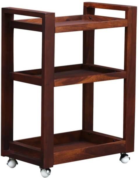 Satkar Wood Furniture Solid Wood Bar Trolley
