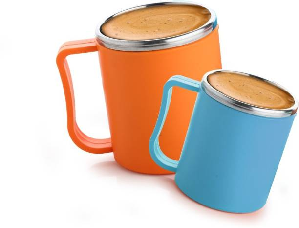 Faverito Milk and Coffee with Steel Inner- Set of 2 ( Orange and Blue Plastic, Stainless Steel Coffee And Tea Plastic Coffee Mug