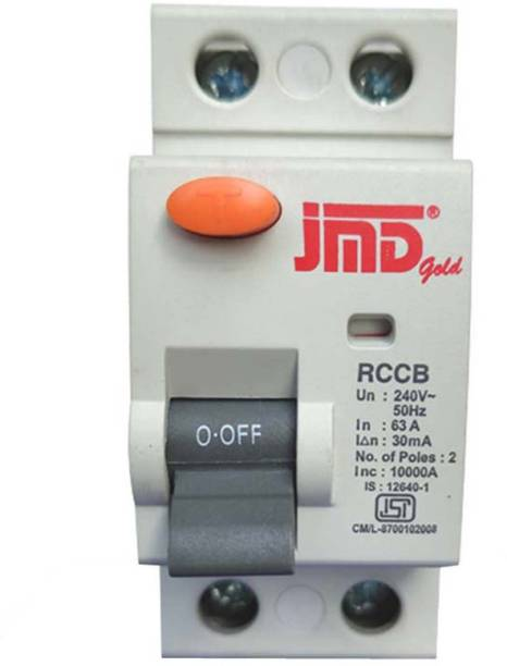JMD GOLD Rccb Double Pole 63 AMP/30MA 240 V Residual Current Circuit Breaker ISI Mark RCB001 MCB