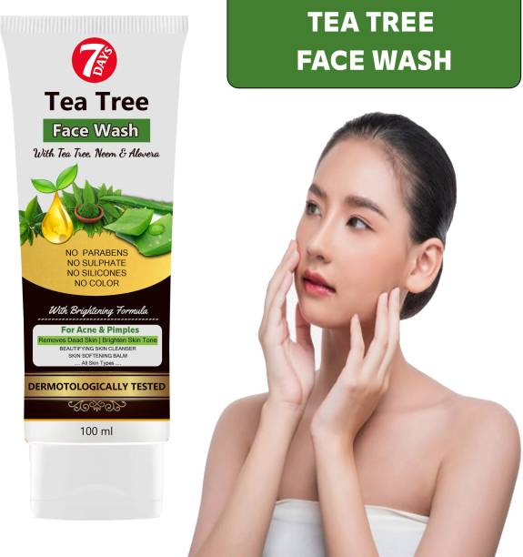 7 Days Neem & Tea Tree  For Oily Skin, Amti Acne, Blackheads Tan & Spots - No Parabens, Sulphate, Silicones & Color Face Wash