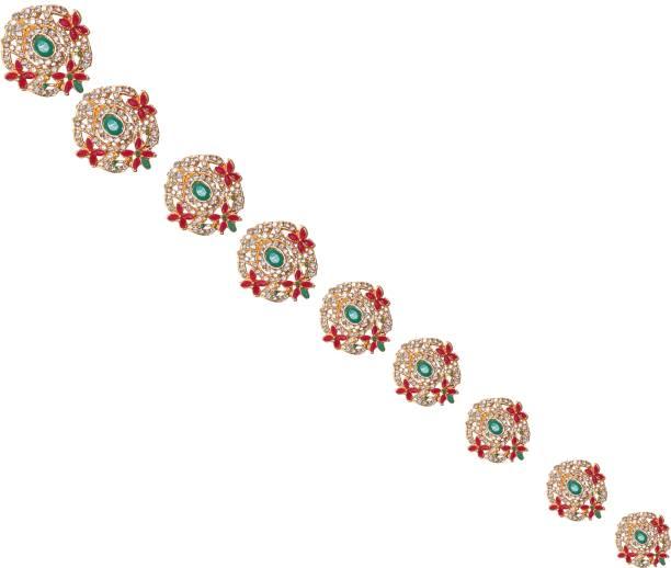 VAGHBHATT Southern Bling Hair Jewelry Choti Jadai Billai Indian Hair pin Hair Decoration, Hair Brooch with Hook Wedding Bridal Jewellery for Women-9 Piece Hair Pin