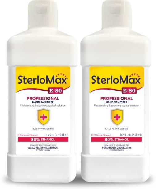 SterloMax Pack of 2 - 80% Ethanol-based Hand Rub Sanitizer and Disinfectant 500 ML Hand Sanitizer Bottle