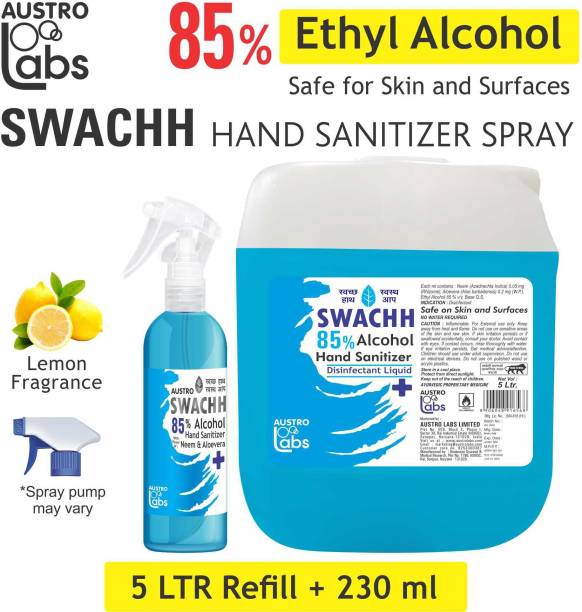 Austro Labs SWACHH HAND SANITIZER SPRAY LIQUID 5 LITER + 120 ML (PACK OF 2) (5 LTR) (5 LITRE) (REFILL PACK) ETHYL ALCOHOL 85% Sanitizer Spray Pump + Refill