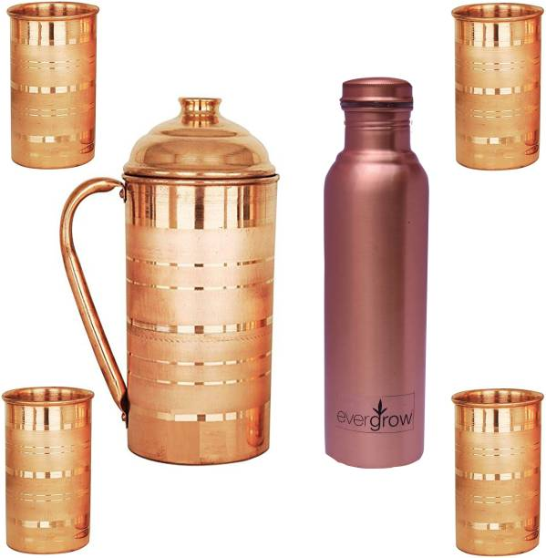 EVERGROW 1.5 L Kettle Copper Silver Touch Jug With Bottle and 4 Glass Set. Jug