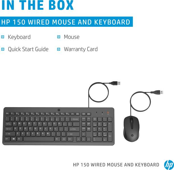 HP 150 Wired Mouse and Keyboard Wired USB Multi-device Keyboard