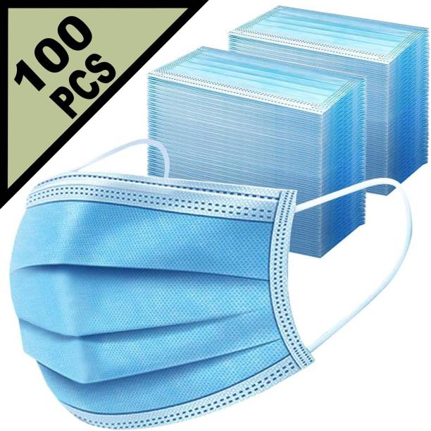 LeSafe 100 Piece 3 Layer Extra Thick Extra Protective 3 Ply Pharmaceutical Breathable Surgical Pollution Face Mask Respirator For Men, Women, Kids Surgical MASK--EF--100 Sky Color Pharmaceutical Reusable Surgical Mask With Melt Blown Fabric Layer