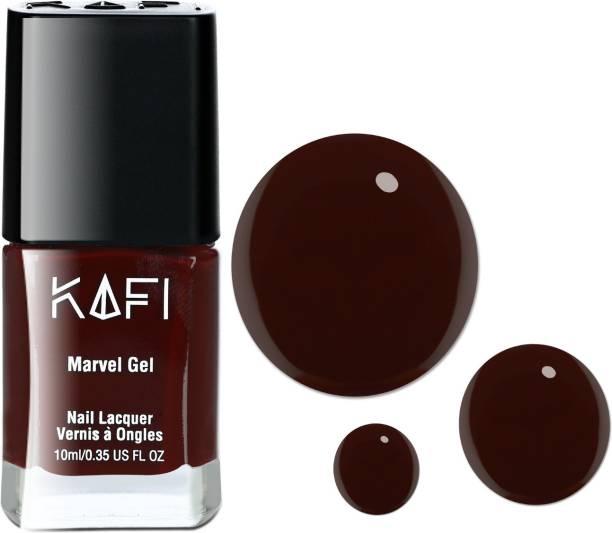 KAFI Gel Effect Nail Polish- Long lasting, Non Toxic, High Shine, Vegan, 10 Free Formula, SalonPro-(Maroon) Scream My Name