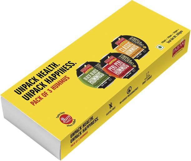FAZLANI FOODS Hummus Gift Pack - Classic, Peri Peri & Black Olives. Pack of 3 Box. 300 g