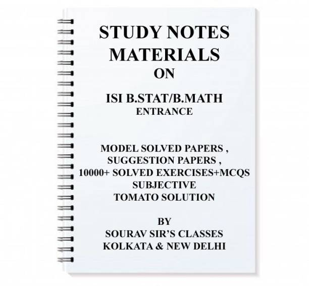 Study Material For Isi B Stat / B Math Entrance + Model Papers + Tomato Solution+ Previous Year Solution+ Test Of Mathematics At The 10+2 Level Solved Complete B.stat B.math Bstat Bmath Kit Notes Package
