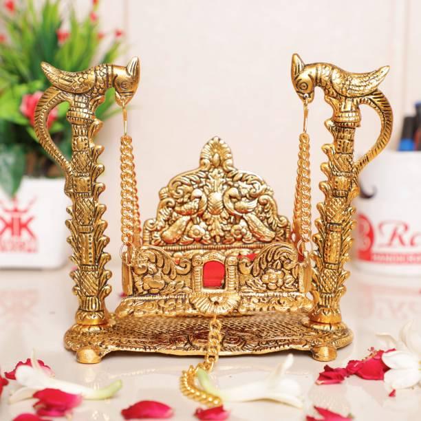 KridayKraft Metal Swing Laddu Gopal Jhula,Krishna Hindola Palana ,Decorative Laddu Gopal for Temple Pooja,Showpiece Figurines,Religious idol Gift Article... Decorative Showpiece  -  16.5 cm